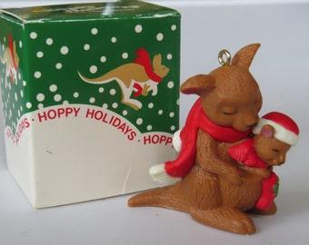 Vintage 1980's Avon Kangaroo & Joey Christmas Ornament ~ Baby's First Christmas ~ Australia