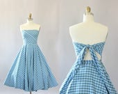 Vintage 50s Dress/ 1950s Cotton Dress/ Toni Owens Light Blue & Green Plaid Convertible Cotton Dress XS