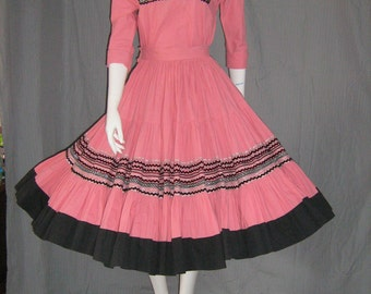 1950's Atomic Pink and Black Patio Set Top & Circle Skirt Dress Mexican Western Sundress Square Dance Viva Las Vegas Rockabilly Vlv