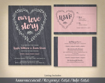 Our Love Story Wedding Invitation Collection, WEDDING INVITATIONS, DIY Printable or Printed Wedding Invitation Set, Studio Veil