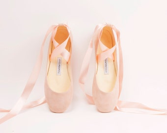 The Blush Wedding Shoes | Lace-up Bridal Ballet Flats with Ivory Satin Ribbons | The Bolshoy Style Ballet Flats in Blush | Last pair eu 43