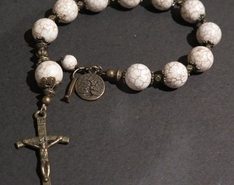 Rosary - Prayer Beads - Tenner - Off white magnasite with brown vein  Beads detailed Crucifix & Religious Charm