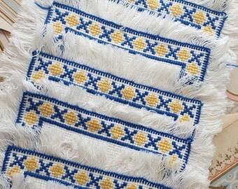 10 Vintage Scandinavian Doilies. Blue & Yellow Cross Stitch Design to Border.