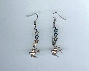Bird and Flowers Earrings