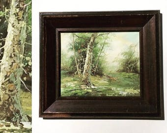 Vintage MidCentury Oil on Canvas Landscape Painting - Framed Fine Art-Forest-Wall Decor-American Fine Art