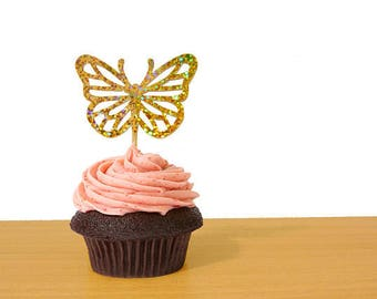 12 Holographic Butterfly Cupcake Toppers, Fairy Party Decorations, Baby Shower, Gold Sparkles - No762