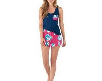 Mudpie Nelly PJ  Navy Floral Set - Personalized PJ Set