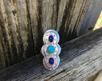 Sterling silver shield statement ring with lapis and turquoise