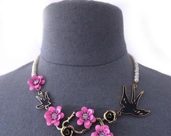 Cherry Blossom Necklace, Flapper Accessories, Statement, Roaring 20s, Great Gatsby,Woman Jewelry Accessory Bib swallow Bird Eccentric choker