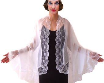 White Lace Shawl Bridal Scarf Boho Shawl Romantic Scarf Wedding Bolero Floral Lace Wrap Beach Cover Up Chiffon Long Scarf