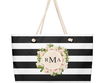 Beach Tote, Beach Bag, Weekender Bag, Weekender Tote, Weekender Travel Bag, Monogrammed, Personalized, Stripes, Vintage Floral, Flowers