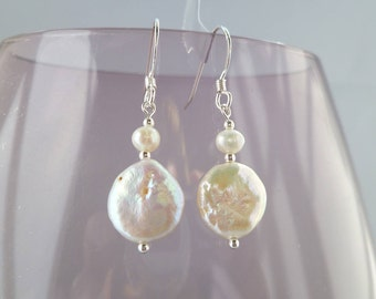 Ivory Fresh Water Coin Pearl and sterling silver earrings UK made