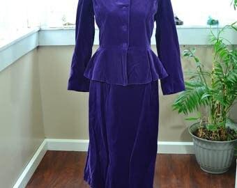 Vintage Purple Velvet Dress Suit - XS - S
