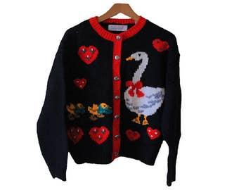 Vintage Duck & Duckling Cardigan Sweater Womens Size Petite Medium