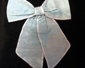 green silk hair bow