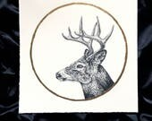 White Tail Deer Buck Moon July - Original Graphite Drawing with Gold Leaf - Animal Portrait Inspired by the Native American Full Moon Names