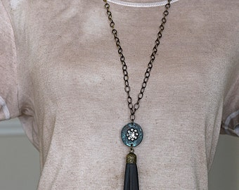 Black Deerskin Tassel / Verdigris Patina w/Rhinestones Medallion / Brass Chain Necklace