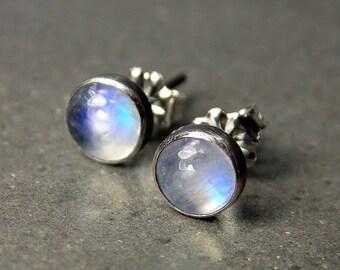 Gemstone Post Earrings, Rainbow Moonstone Earrings, Oxidized Sterling Silver