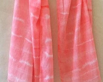 Summer Scarf, Hot Pink Scarf, Hand Painted Scarf, Watercolor Scarf, All Cotton Scarf, Coral Scarf, Lightweight, Woman's Scarf, Natural Fiber