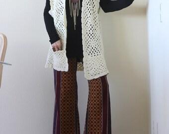 Vintage Hippie Boho Crochet Long Vest 70s Knit Vest Coat