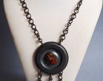 Vintage large copper necklace, pendant with Baltic amber stones.
