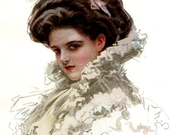 Your Dreams by Harrison Fisher, American Beauties, Beautiful Woman, Antique 1909 8x11 Color Art Print, World So Fair, FREE SHIPPING