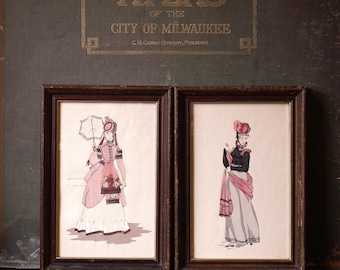 Pair of Framed Vintage Historical Costume Paintings - Hand Painted in France