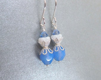 Blue and white bead earrings, Czech glass, bright silver. Blue white jewelry, bead jewelry