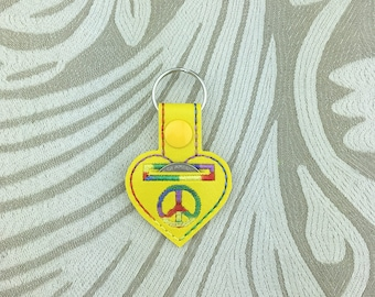 Peace Quarter Keeper - yellow rainbow heart cart deposit coin holder snaptab keychain