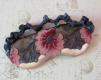 Retro Floral Lace Sleep Mask in Pink, Gray // Lace & Satin Eye Mask