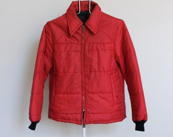 SALE Vintage Quilted Jacket // Bomber Style Work Jacket Red Mens Medium Coat