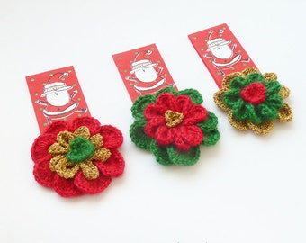 Crochet Flower Pattern - Versatile Colorful 3/4 layers Flower accessory, perfect for Christmas ornament  - Instant DOWNLOAD