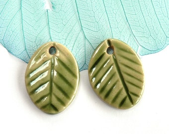 Ceramic leaf earring charms ~ handmade clay leaves, spring green leaf charms, jewellery making supplies, handmade jewelry component,