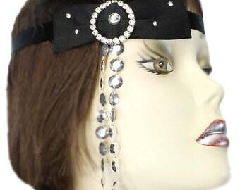 Black Flapper Headband Starry Night Silver Gatsby Roaring 20's Feathered Fascinator Cosplay Showgirl