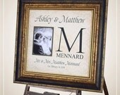 Custom Wedding Monogram, Wedding Gifts for Parents, Monogrammed Wedding Gift, Personalized Picture Frame, Personalized photo mat, 16 X 16