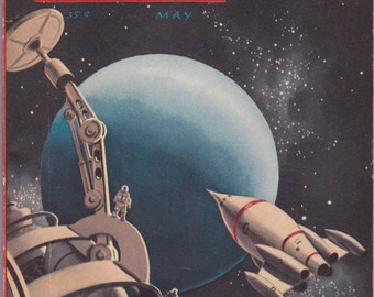 Star Lummox Part 1- 1950s Vintage Magazine- Fantasy Science Fiction- May 1954- Robert Heinlein- Jack Coggins- Poul Anderson- Paper Ephemera
