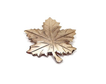 Gold Washed Sterling Silver Vintage Maple Leaf Brooch Pin Bond Boyd Fall Autumn Mid Century Nature Jewelry Etched Cut Design