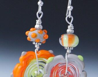 Asymmetrical Orange Lime Green Gray Lampworking Beaded Sterling Silver Earrings
