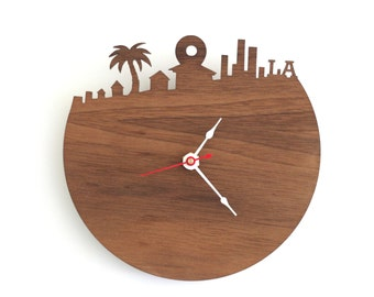 "Los Angeles Clock - 7"" Walnut SAMPLE"