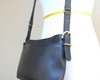Vintage Coach 9802 Black and Gold Natural Glove Tanned Cowhide Leather Purse Shoulder Bag Handbag Crossbody Bag Boho Satchel Classic Purse