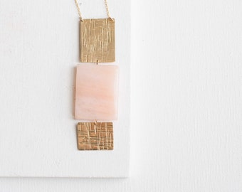 Peach Aventurine Rectangle Necklace | Brass