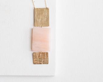 Peach Aventurine Rectangle Necklace | Brass