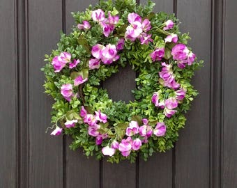 Spring Wreath-Summer Wreath-Grapevine Door Wreath-Boxwood-Purple Sweet Pea-Artificial Materials-Indoor/Outdoor Decoration
