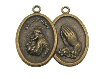 Antique Bronze St. Anthony Charms Pendants /Brass Ox Religious Medals [Choose 1 piece or 5 pieces] -- Lead, Nickel & Cadmium Free 70823.H3F