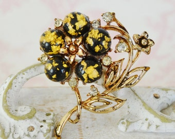 Vintage Flower Brooch with Clear Stones and Gold Leaf Confetti Lucite by Coro