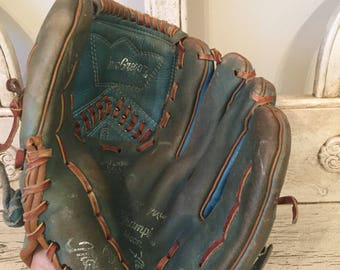 Vintage Kid's Leather Baseball Glove - Rustic Decor -  Faded green color