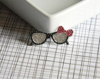 "Nerd Glasses Rhinestone Center 1 3/4"" Wide for Hair Bow Centers Hair Clips DIY Projects Scrapbook Geek Chic Black Wayfarers Pink Hair Bow"