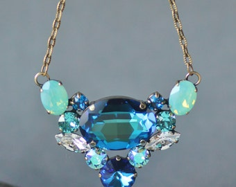 NEW Bermuda Blue Pacific Opal Crystal Necklace,Multi Stone Statement Pendant Necklace,Layering,Swarovski Rhinestone,Bridal,Weddings,Opal