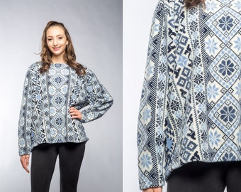 Large Vintage Winter Pullover Fleece Ski Shirt Cozy Soft Fleecey 90s Blue & White Fair Isle   Holiday Snowflake Shirt 16Z