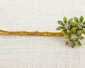 Green Flower and Rhinestone Gold Hair Clip Embellished Bobby Pin   Handmade in USA Hair Pins 16V